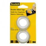 Scotch® 136R2 Двусторонняя Клейкая Лента, рефиллы, 12 мм х 6.3 м, 2 штуки в упаковке